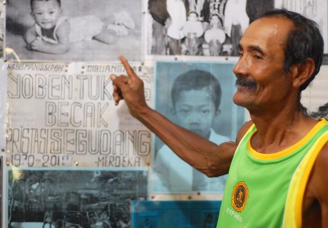 Darmiyanto, tukang becak dengan prestasi segudang.(dok.pri)